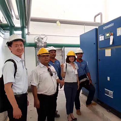 马来西亚旗滨玻璃340HP无油螺杆机稳定运行6年