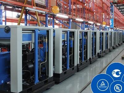 斯可络螺杆空压机生产车间,合资品牌,生产量高达5000多台
