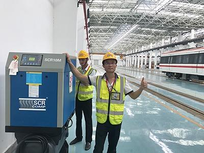 斯可络空压机品质及服务得到东莞地铁称赞