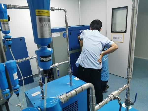 广东某研究室为满足洁净无油压缩空气,选用医用无油涡旋空压机一套