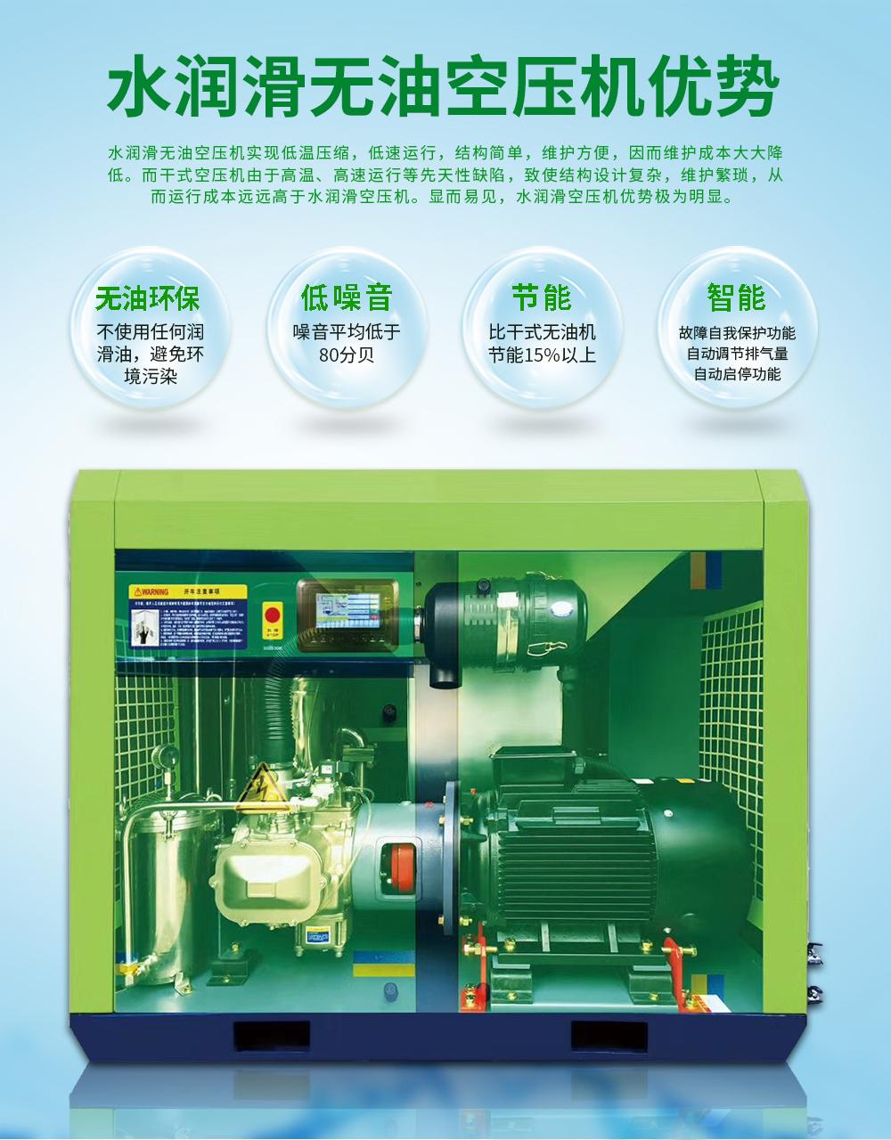 水润滑无油螺杆空压机优势